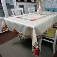 Атласная скатерть на стол круглая/прямоугольная с вышивкой 88252