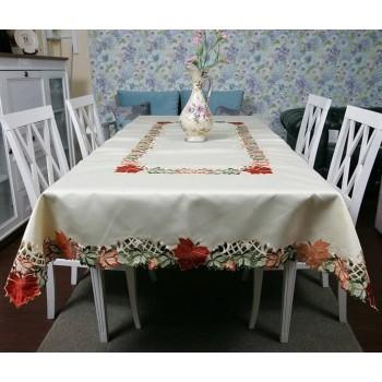 Атласная скатерть на стол круглая/прямоугольная с вышивкой 88252 фото 1