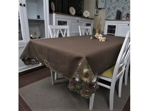 Атласная скатерть на стол круглая/прямоугольная с вышивкой Шоколад 99903 от ALLTEX в интернет-магазине PannaTeks
