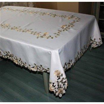 Атласная скатерть круглая/прямоугольная с вышивкой Золотые розы
