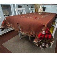 Атласная скатерть на стол с вышивкой прямоугольная Шоколадный мусс