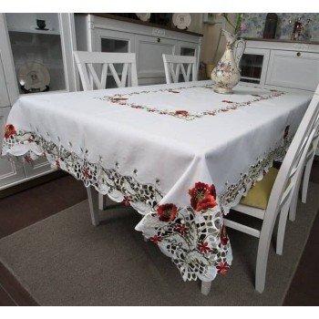Атласная скатерть на стол круглая/прямоугольная с вышивкой Маки