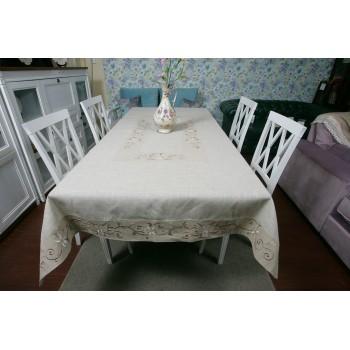Льняная скатерть на стол с вышивкой 0106 фото 1