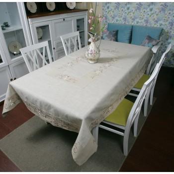 Льняная скатерть на стол с вышивкой 0106 фото 2