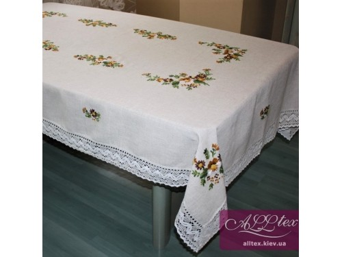 Льняная скатерть с вышивкой и кружевом 012 012 от ALLTEX в интернет-магазине PannaTeks