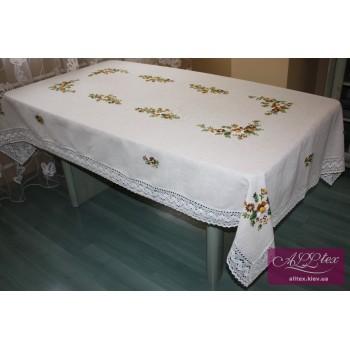Льняная скатерть с вышивкой и кружевом 012 фото 1