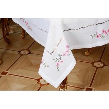 Льняная скатерть на стол с вышивкой белая Сакура фото 1