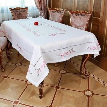 Льняная скатерть на стол с вышивкой белая Сакура 0559 от ALLTEX в интернет-магазине PannaTeks