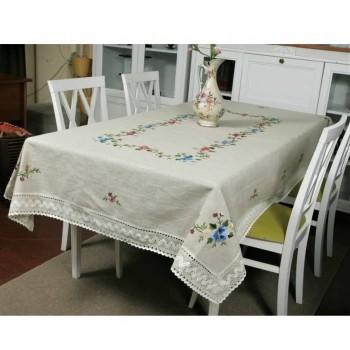 Льняная скатерть с вышивкой и кружевом круглая/прямоугольная Виола фото 3