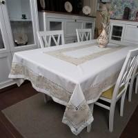 Льняная скатерть на стол с вышивкой квадратная/прямоугольная 1068