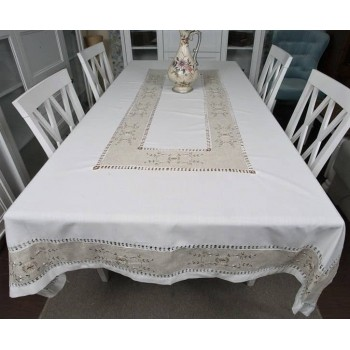 Льняная скатерть на стол с вышивкой квадратная/прямоугольная 1068 фото 1