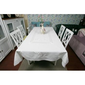 Льняная скатерть с вышивкой и кружевом 112-5 белая фото 1