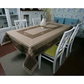 Льняная скатерть на стол с вышивкой 112-71 фото 1