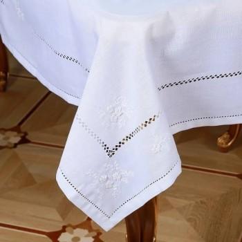 Льняная скатерть на стол с вышивкой круглая/прямоугольная 118 фото 1