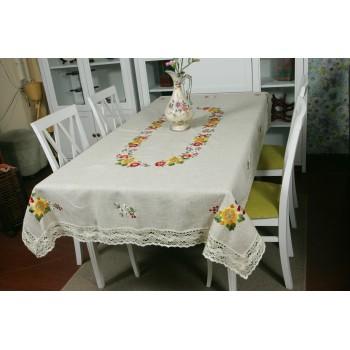 Льняная скатерть с вышивкой и кружевом 1211 фото 2