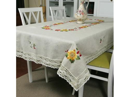Льняная скатерть с вышивкой и кружевом 1211 1211 от ALLTEX в интернет-магазине PannaTeks