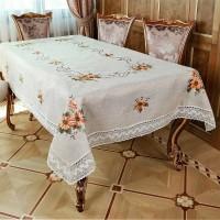 Скатерть льняная с вышивкой и кружевом квадратная/прямоугольная 178110