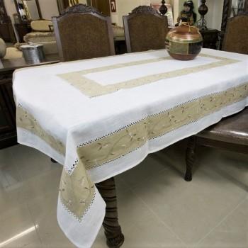 Льняная скатерть на кухонный стол с вышивкой 20539