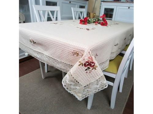 Льняная скатерть с вышивкой и кружевом 2800 2800 от ALLTEX в интернет-магазине PannaTeks