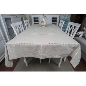 Льняная скатерть на стол с вышивкой 305 фото 1