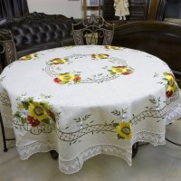 Скатерть льняная круглая с вышивкой и кружевом Подсолнухи и Маки 2