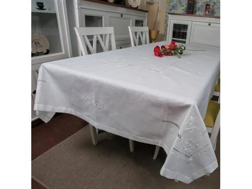 Льняная скатерть с вышивкой белая 307 307 от ALLTEX в интернет-магазине PannaTeks