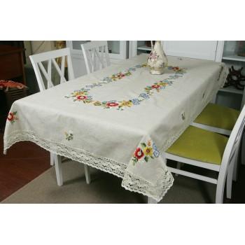 Льняная скатерть с вышивкой и кружевом Полевые цветы фото 2