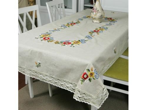 Льняная скатерть с вышивкой и кружевом Полевые цветы 308 от ALLTEX в интернет-магазине PannaTeks