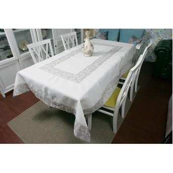 Льняная скатерть с вышивкой белая 4042 фото 1