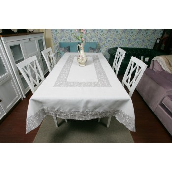 Льняная скатерть с вышивкой белая 4042 фото 2