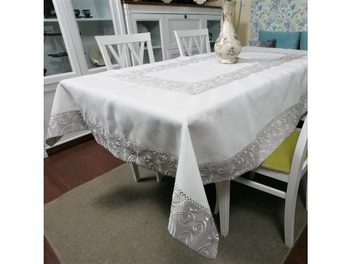 Льняная скатерть с вышивкой белая 4042 4042 от ALLTEX в интернет-магазине PannaTeks