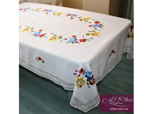 Льняная скатерть с вышивкой и кружевом 4055 4055 от ALLTEX в интернет-магазине PannaTeks