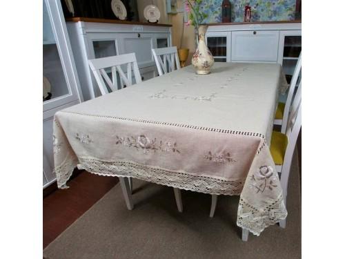 Льняная скатерть с вышивкой и кружевом круглая/прямоугольная 7110 7110 от ALLTEX в интернет-магазине PannaTeks