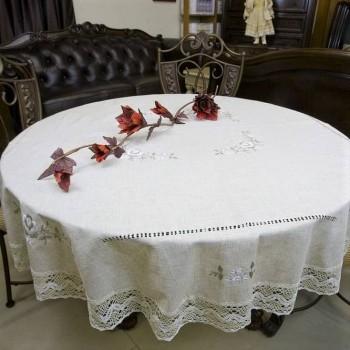 Льняная скатерть с вышивкой и кружевом круглая/прямоугольная 7110 фото 1