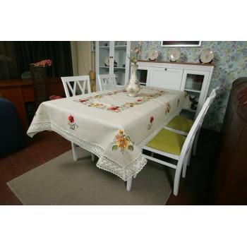 Льняная скатерть с вышивкой и кружевом круглая/квадратная/прямоугольная 8176 фото 3