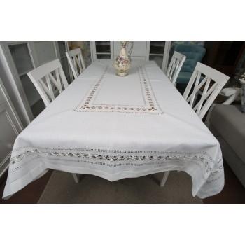 Белая льняная скатерть на стол 819 фото 1