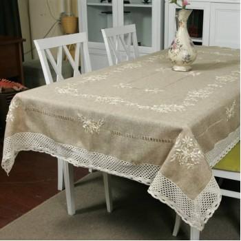 Льняная скатерть с вышивкой и кружевом круглая/прямоугольная 8340 8340 от ALLTEX в интернет-магазине PannaTeks