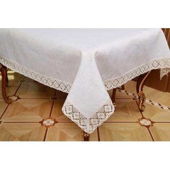 Льняная скатерть на стол с кружевом 9913 фото 1