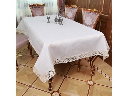 Льняная скатерть на стол с кружевом 9913 9913 от ALLTEX в интернет-магазине PannaTeks