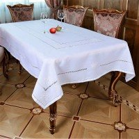 Льняная скатерть на стол с вышивкой круглая/прямоугольная 118