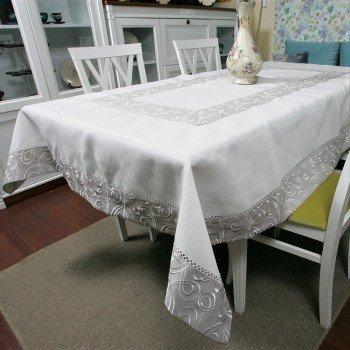 Льняная скатерть с вышивкой белая 4042