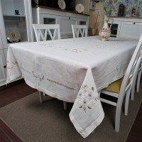 Льняная скатерть белая с вышивкой 71 Китай