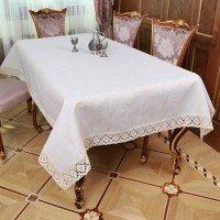 Льняная скатерть на стол с кружевом 9913