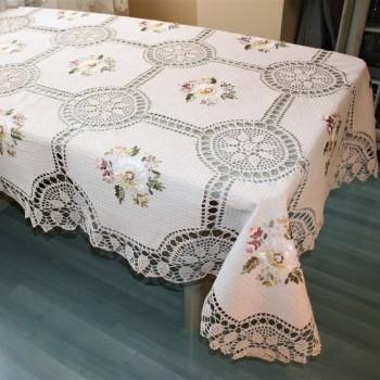 Льняная скатерть вязаная с вышивкой 661