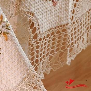 Льняная скатерть вязаная с вышивкой 661 фото 1