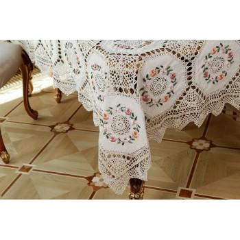 Льняная скатерть вязаная с вышивкой и кружевом 852 фото 1