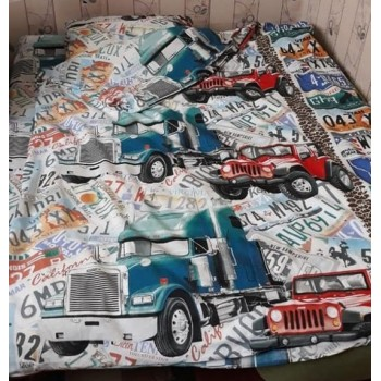 Детское постельное белье в кроватку бязь Автобан фото 1