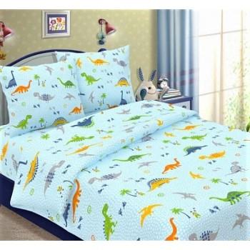 """Постельный комплект в кроватку бязь """"Динозаврики на голубом"""""""