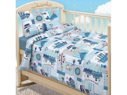 Детское постельное белье в кроватку бязь Кораблики Кораблики от Царский Дом в интернет-магазине PannaTeks