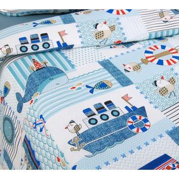 Детское постельное белье в кроватку бязь Кораблики фото 1